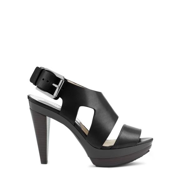5d1136eb6d MICHAEL Michael Kors Shoes | Michael Kors Carla Black Sandal Heels ...
